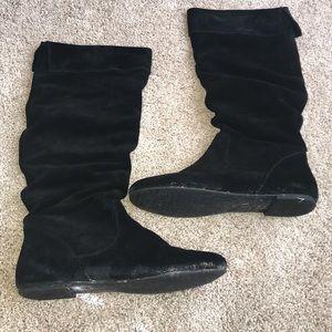 Gianni Bini Jackpot Black Suede Flat Boot Size 8